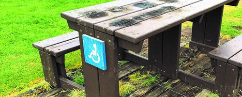 Photograph of an accessible picnic bench