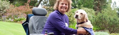 Photograph of a wheelchair user at the Botanics with her dog