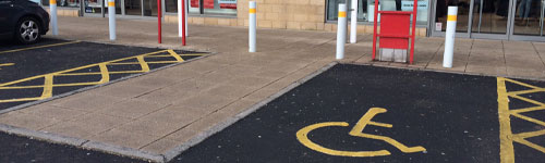 Photograph of disabled parking space at a shopping centre